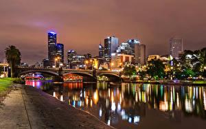 Фотографии Мельбурн Австралия Здания Реки Мост Ночью Водный канал город