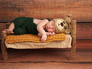 Фотография Доски Младенцы Шапка Сон Кровать