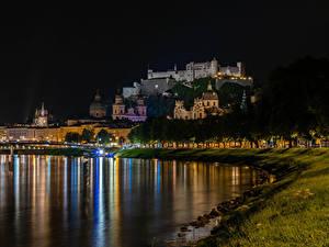 Фотография Австрия Зальцбург Реки Дома В ночи Города