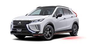 Обои для рабочего стола Mitsubishi Белых Металлик CUV Eclipse, JP-spec, Cross, Accessorized, 2019 Автомобили