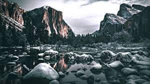 Фото Камень Реки Горы США Пейзаж Йосемити Калифорния Снег Утес