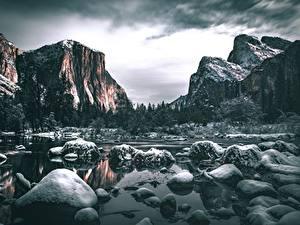 Фото Камень Реки Горы США Пейзаж Йосемити Калифорнии Снег Скале