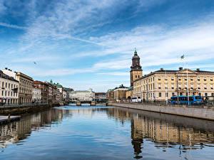 Обои Швеция Дома Река Мосты Gothenburg город