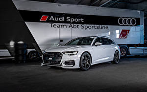 Картинки Ауди Белых Металлик 2019 ABT A6 3.0 TDI Avant машины