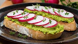 Обои Фастфуд Бутерброд Редис Хлеб Двое Продукты питания