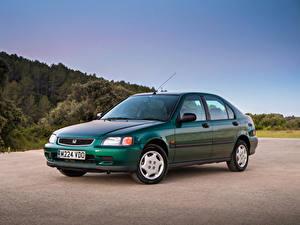 Картинки Honda Винтаж Зеленая Металлик 1995-97 Civic Fastback Автомобили