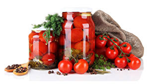 Картинка Помидоры Пряности Укроп Белый фон Банка Продукты питания