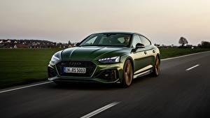 Фотографии Audi Дороги Скорость Зеленые Металлик RS5 Sportback, 2020 авто