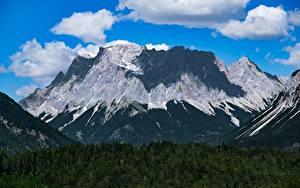 Обои Германия Горы Лес Пейзаж Альпы Облака Zugspitze Природа