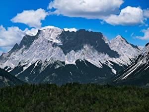 Обои Германия Горы Леса Пейзаж Альпы Облака Zugspitze Природа