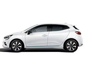 Фотографии Renault Белых Металлик Сбоку Clio E-TECH, 2020 машины
