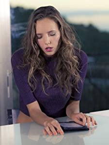Картинки Планшетный компьютер Свитера Стол Руки Красивый Katya Clover девушка