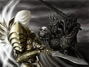 Фотографии Воин Битва Heroes of the Storm Мечи Броня Lich King, Arthas Menethil компьютерная игра Фэнтези