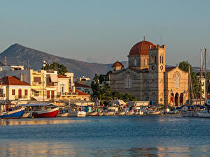 Фотография Греция Остров Монастырь Море Лодки Пирсы Corfu, Aegean sea, Monastery Of Theotokou Города