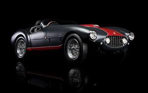 Картинки Ferrari Старинные Черный фон 1953 Classic 166 MM/53 Spyder автомобиль