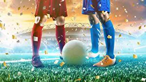 Фотографии Футбол Мяч Ног Гольфах спортивная