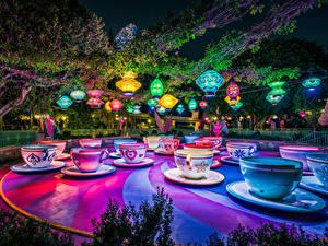 Фото Штаты Парки Диснейленд Калифорния Анахайм Дизайн Чашка Ночные Природа