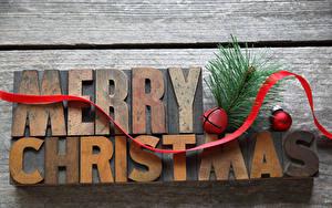 Фотография Рождество Доски Английский Ветвь Ленточка Шарики