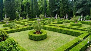 Обои Италия Тоскана Сады Скульптура Дизайна Газон Кусты Дерева Villa Peyron Garden Природа