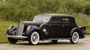Картинки Lincoln Ретро Черный Металлик 1938 Model K Semi-Collapsible Cabriolet by Brunn Автомобили