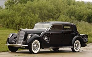 Картинки Lincoln Ретро Черная Металлик 1938 Model K Semi-Collapsible Cabriolet by Brunn автомобиль