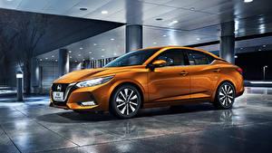 Фотографии Ниссан Оранжевые Металлик 2019 Sylphy China Автомобили