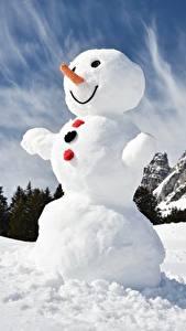 Обои для рабочего стола Снеговик Снега