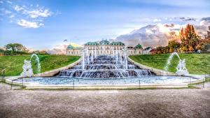Картинки Австрия Вена Фонтаны Скульптура Дворца Belvedere