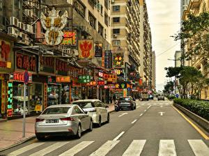 Фотография Китай Дома Дороги Улиц Macao Города