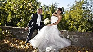 Фотографии Любовники Мужчина Осенние Букеты Жених Невеста Лист Платье Радостная девушка