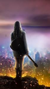 Картинки Пламя Небоскребы Гитара Блондинка Фантастика