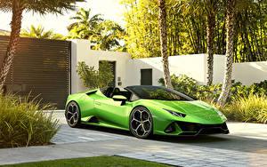 Фотографии Lamborghini Салатовый Металлик Родстер 2019 Huracan EVO Spyder