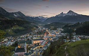 Фотографии Гора Германия Рассветы и закаты Скала Снегу Альп Бавария Berchtesgaden, Berchtesgadener Land
