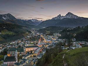 Фотографии Гора Германия Рассветы и закаты Скала Снегу Альп Бавария Berchtesgaden, Berchtesgadener Land город