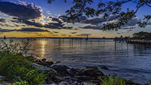 Картинки Штаты Парк Рассвет и закат Берег Залива Calvert Vaux Park Brooklyn
