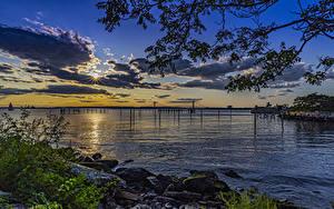 Картинки США Парк Рассветы и закаты Побережье Залива Calvert Vaux Park Brooklyn Природа