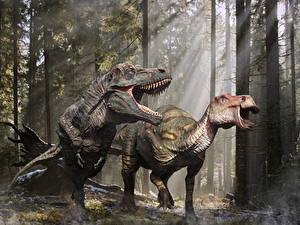 Обои Древние животные Динозавры Тираннозавр рекс Злость Edmontosaurus животное 3D_Графика