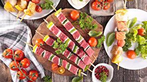 Картинки Мясные продукты Шашлык Овощи Томаты Продукты питания