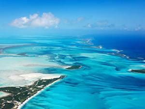 Фото Тропики Пейзаж Море Берег Сверху Bahamas beach