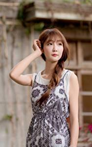 Фотография Азиатки Боке Поза Руки Платье Косички Шатенка девушка