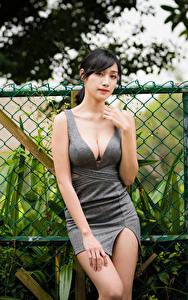 Картинки Азиатки Брюнетка Платья Рука Декольте Смотрят девушка