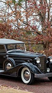 Картинки Кадиллак Ретро Черный Металлик 1933 V16 452-C Convertible Phaeton by Fleetwood Автомобили