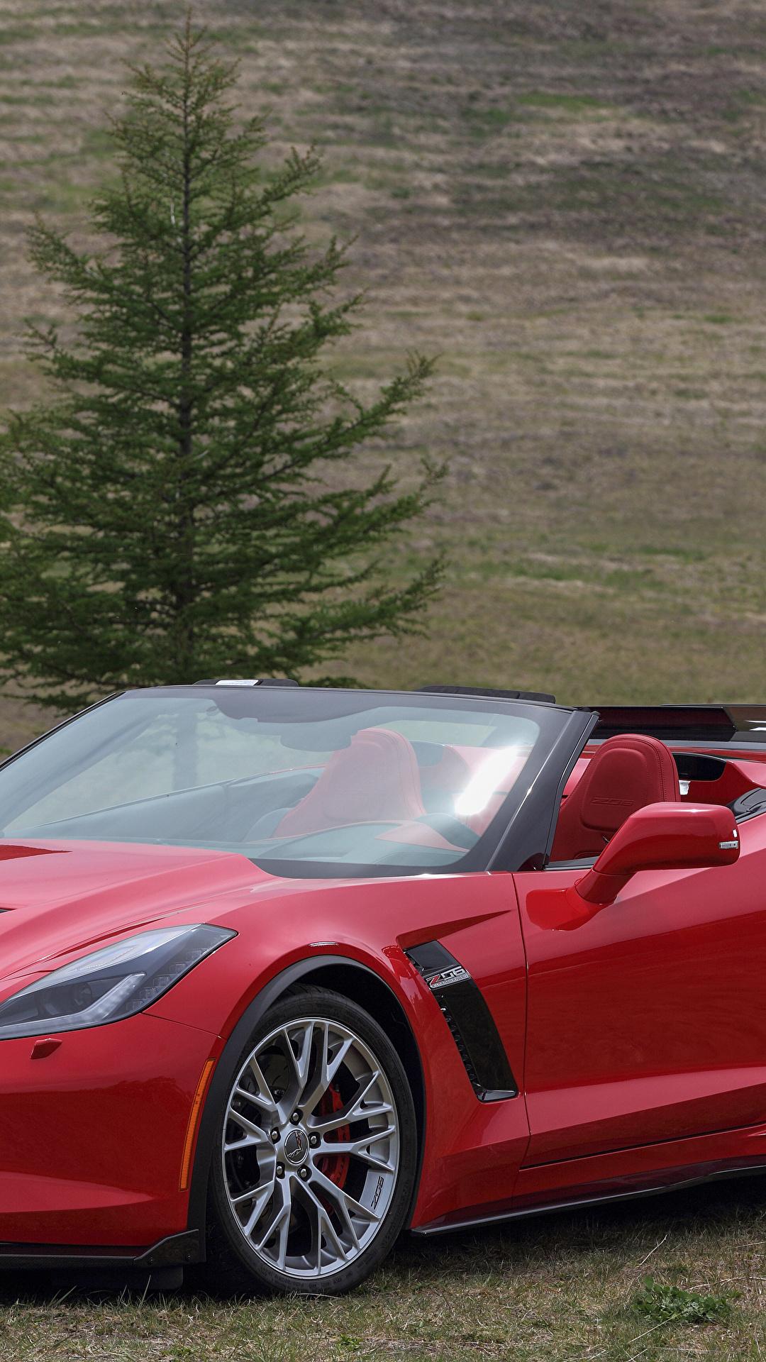 Фотографии Chevrolet 2015–17 Corvette Z06 кабриолета красные машины Металлик 1080x1920 Шевроле Кабриолет красных Красный красная авто машина автомобиль Автомобили