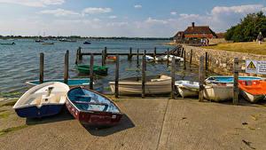 Обои Англия Река Причалы Лодки Bosham Quays Природа