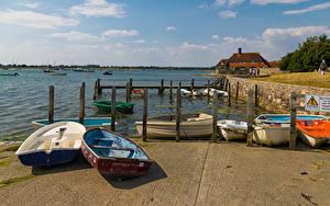 Обои Англия Речка Причалы Лодки Bosham Quays Природа