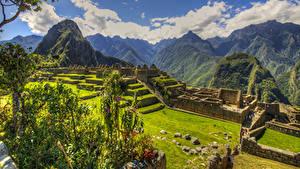 Картинки Перу Руины Парки Горы HDR Мхом Газон Plaza central Machu Picchu Природа