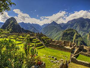 Картинки Перу Руины Парки Горы HDR Мхом Газон Plaza central Machu Picchu