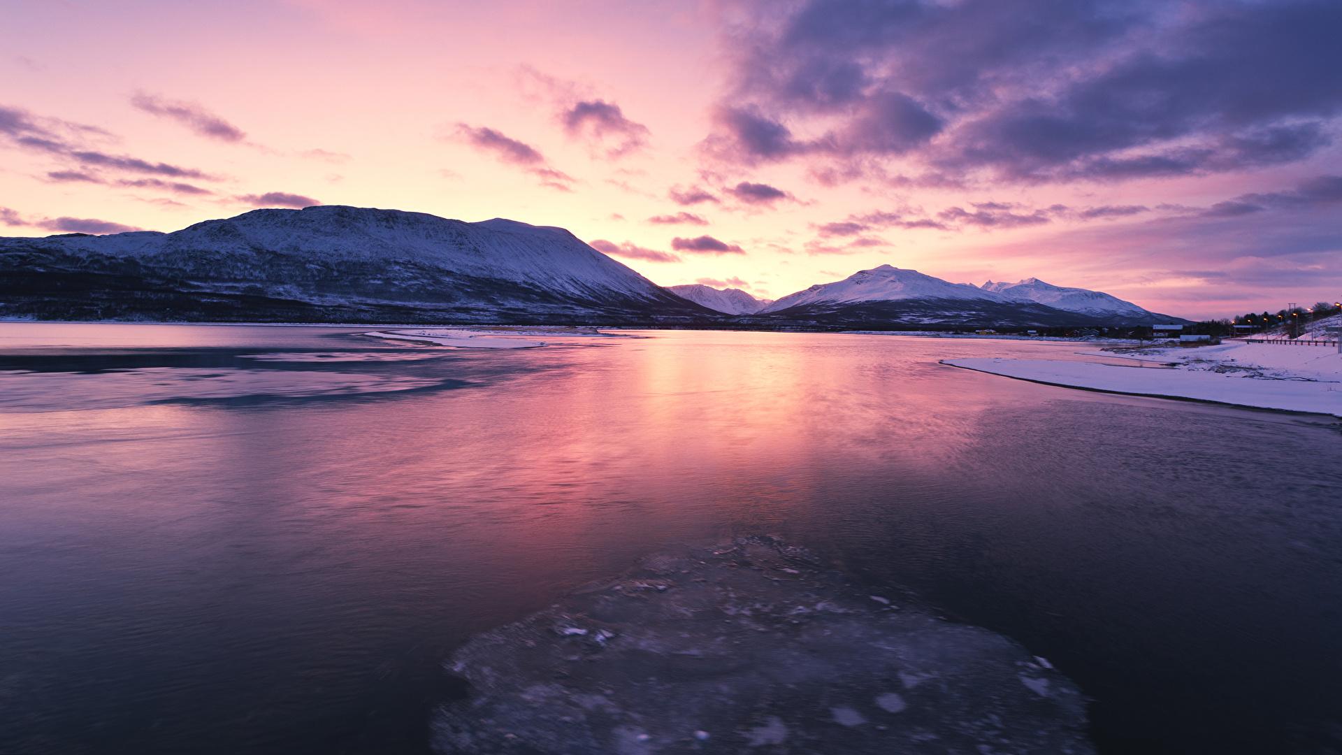 Фотография Лофотенские острова Норвегия Зима Горы Природа Рассветы и закаты Залив 1920x1080 зимние