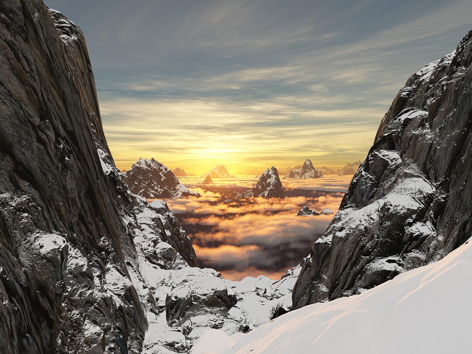 Фотографии Горы Скала Природа 3D Графика Снег Пейзаж Рассветы и закаты 1600x1200 Утес
