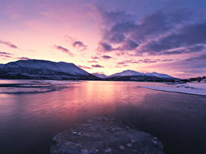 Фотография Норвегия Лофотенские острова Зимние Горы Рассветы и закаты Залив